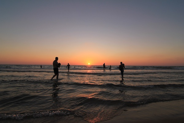 Sunset on the beaches of Tel Aviv, Israel