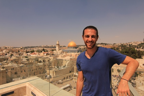 At the Western Wall, with The Dome of the Rock in the background