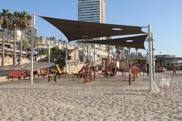 gym on the beach in tel aviv, israel